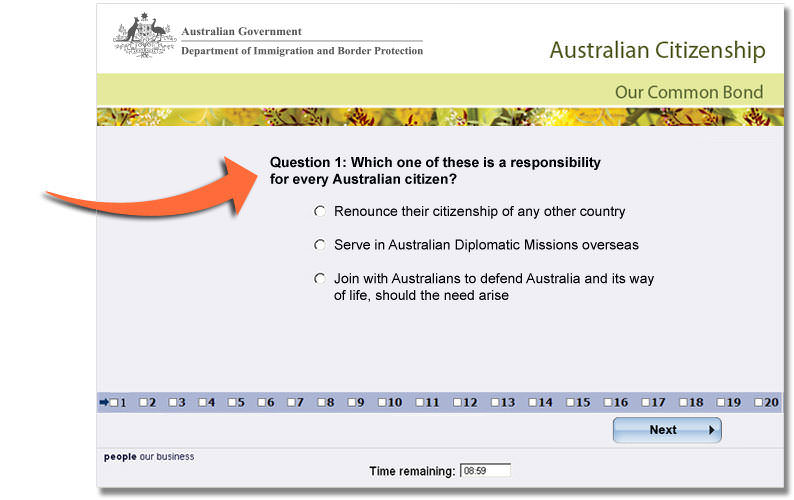 Australian citizenship how to become an australian citizen australian citizenship test screenshot australian citizenship test example question yadclub Image collections