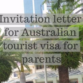 Invitation letter for Australian tourist visa for parents