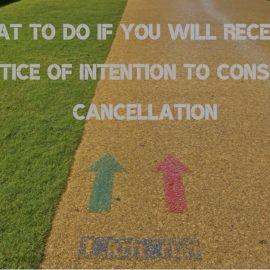 Notice of intention to consider cancellation